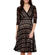 Signature by Sangria Elbow-Sleeve Lace Fit-and-Flare Dress - Petite