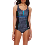 Speedo® Textured Touchback One-Piece Swimsuit
