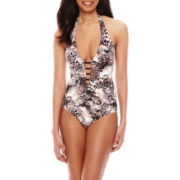 Liz Claiborne® Animal Print Plunge Maillot One-Piece Swimsuit