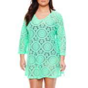 Porto Cruz® Crochet Tunic Swim Coverup - Plus