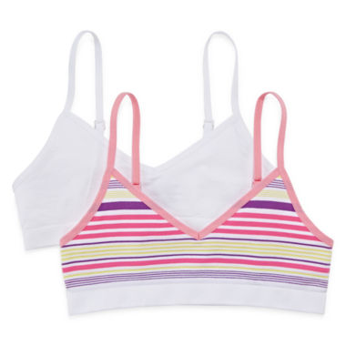 jcpenney.com | Maidenform 2-pk. Striped Crop Bras - Girls 7-16