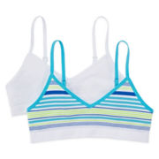 Maidenform 2-pk. Striped Crop Bras - Girls 7-16