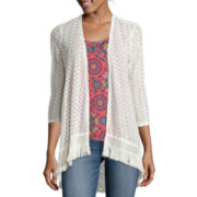 Self Esteem® 3/4-Sleeve Lace Cozy with Tank Top
