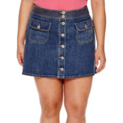 Arizona Button Front Denim Skirt - Juniors Plus