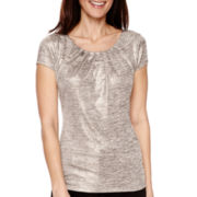 Worthington® Short-Sleeve Scoopneck Top - Petites