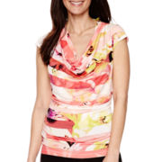 Worthington® Sleeveless Draped-Neck T-Shirt - Petite