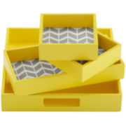 Intelligent Design Elle 4-pc. Geometric Decorative Tray Set
