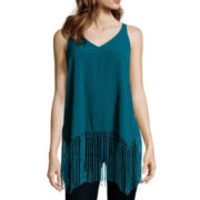 BELLE + SKY™ High-Low Fringed Tank Top