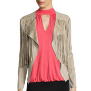Bisou Bisou® Long-Sleeve Faux-Suede Fringe Jacket