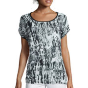 i jeans by Buffalo Short-Sleeve Mixed Media Top