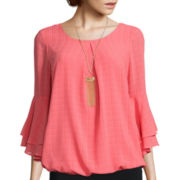 Alyx® Long-Sleeve Bubble-Hem Necklace Top