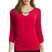 Alyx® 3/4-Sleeve Embellished-Neck Top