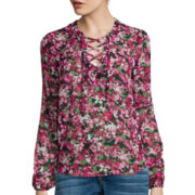 I 'Heart' Ronson Long-Sleeve Lace-Up Blouse