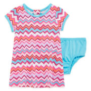 Okie Dokie® Short-Sleeve Back-Bow Dress - Baby Girls newborn-24m
