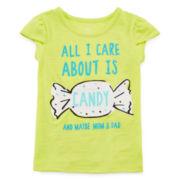 Okie Dokie® Petal-Sleeve Graphic Tee - Toddler Girls 2t-5t