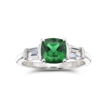 jcpenney.com | Simulated Emerald & Lab-Created White Sapphire Sterling Silver 3-Stone Ring