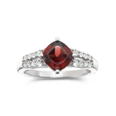 jcpenney.com | Genuine Garnet & Lab-Created White Sapphire Ring Sterling Silver