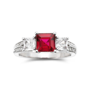 jcpenney.com | Lab-Created Ruby, White Sapphire with Diamond Accents Sterling Silver 3-Stone Ring