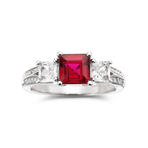 Lab-Created Ruby, White Sapphire with Diamond Accents Sterling Silver 3-Stone Ring