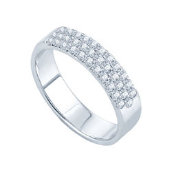 1/2 CT. T.W. Three-Row Diamond Band