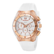 TechnoMarine® Star Womens Rose-Tone Silicone Strap Chronograph Watch