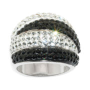Silver-Plated Black & White Crystal Wave Ring