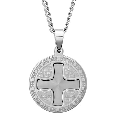 Mens Stainless Steel Lord's Prayer Pendant Necklace