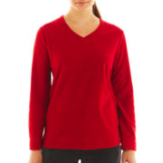Made For Life™ V-Neck Micro Polar Fleece Pullover - Petite