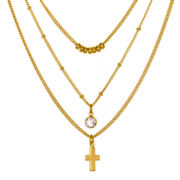 Delicates by PALOMOA & ELLIE Crystal-Accent 3-Row Cross and Bead Necklace