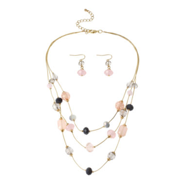 jcpenney.com | Mixit™ Multicolor Pastel Beads 3-Row Illusion Necklace and Earring Set