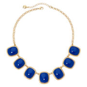 Monet® Blue Stone Gold-Tone Square Collar Necklace