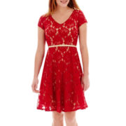 Julian Taylor® Short-Sleeve Belted Lace Fit-and-Flare Dress