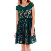 Julian Taylor® Cap-Sleeve Sash-Tie Lace Dress