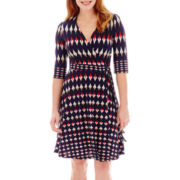 Danny & Nicole® Elbow-Sleeve Diamond Print Faux-Wrap Dress