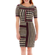 Danny & Nicole® Short-Sleeve Houndstooth Knit Dress