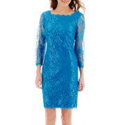 Simply Liliana 3/4-Sleeve Scalloped Lace Dress