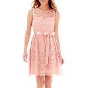 Simply Liliana Sleeveless Ribbon Belt Lace Dress