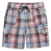 Arizona Pull-On Plaid Cargo Shorts - Boys 2t-5t