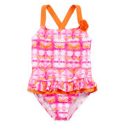 Angel Beach Pink Heart 1-pc. Swimsuit - Girls 4-6x