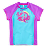 Breaking Waves Blue Peace Sign Rash Guard - Girls 7-16