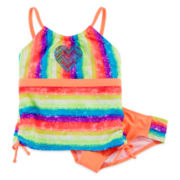 Angel Beach 2-pc. Orange Stripe Tankini - Girls Plus