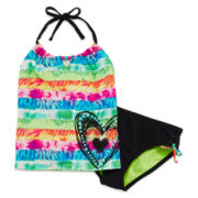 Breaking Waves Rainbow Heart Tankini Set - Girls 7-16