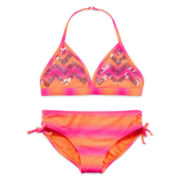 Angel Beach 2-pc. Orange Sequin Chevron Swimsuit - Girls 7-16