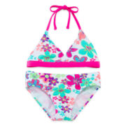 Breaking Waves Flower Bikini - Girls 7-16