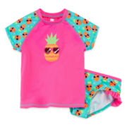 Breaking Waves 2-pc. Rash Guard and Swim Bottoms Set - Girls 2t-5t