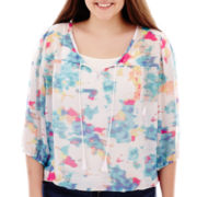 Arizona 3/4-Sleeve Floral Print Peasant Top - Plus