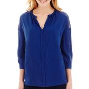 Stylus™ 3/4-Sleeve Lace Woven Tunic