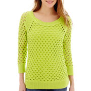 Stylus™ 3/4-Sleeve Pointelle Sweater