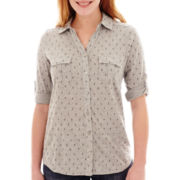 Liz Claiborne® Elbow-Sleeve Roll-Tab Soft Shirt - Tall