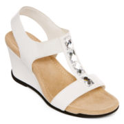 St. John's Bay® Lana Stone-Embellished Wedge Sandals